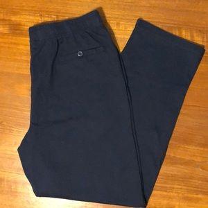 Lands' End Navy Jersey Knit Straight Leg Pants